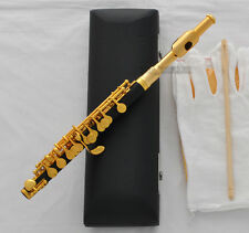 Top Black Bakelite C Key Piccolo Flute Gold Plated Key Italian pad +Leather Case