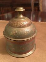 Vitg Brass Trinket Box with Lid Ornate Etched Enamel Floral Made in India Marked
