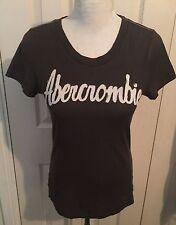 Abercrombie & Fitch Donna Marrone T Shirt girocollo manica corta TAGLIA S