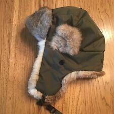 Hunting Aviator Red Head Brand Co Rabbit Fur Hat Bomber Olive Green Small/Medium