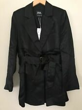 BNWT ZARA BLACK SATIN BLAZER JACKET WITH SASH BELT SIZE M