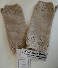 Cashmere wristwarmers gloves beige ladies womens NEW wool made in Scotland