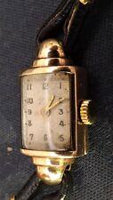 Anni 1940 VINTAGE ROLEX Art Deco Orologio Donna 9 KT Oro Con Custodia