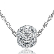 """Real Sterling Silver Lucky Bead Pendant Necklace Chain Statement 18"""" Gift Box"""