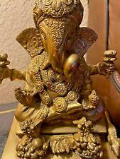 "VTG   LORD GANESHA SITTING ON LOTUS  ""   BRASS Hindu God Statue Figure"