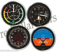 TRINTEC 4 pc Coaster  Aircraft Instrument ACRYLIC COASTERS Altimeter Gyro New