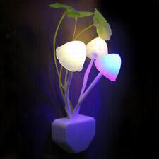Creative Night Light EU/US Plug Light Sensor 3 LED Colorful Mushroom for Baby !!