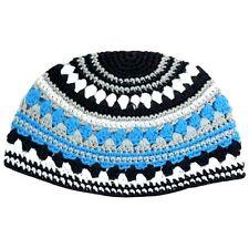 Skull Cap Kippah Yarmulke Freak Knit Hat Crochet Blue Striped Israel 26 cm