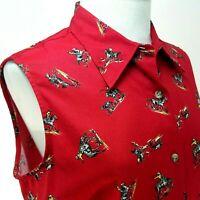 Vtg Five Star ROPER Western Shirt Horse Print Rodeo Sleeveless Red Women's L NEW