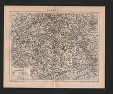 Mapa Map 1896: Baviera I. Alemania bávaro bosque francos Ober-Palatinado