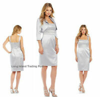 * NWT Adrianna Papell Embellished Shantung Sheath Dress w Bolero 12 Gray silver