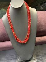 Vintage Boheniman Red Glass Angle Cut Seed Bead  Multi Strand Long Necklace Boho