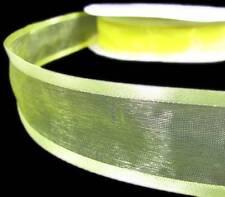 "3 Yards SALE Solid Yellow Sheer Satin Edge Ribbon 1 1/2""W"