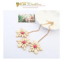 Wedding Fashion Mixed Style Chain Crystal Flower Bib Big Statement Necklace P59