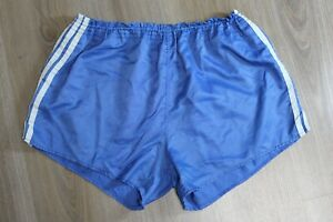 Adidas Vintage Running Shorts Adult Sports Sprinter Blue 70s 80s Size 8 XL Nylon