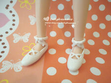 Doll Shoes ~ Takara Licca Ballet White bow shoes 1Pair - Jenny/Ob27cm/Momoko