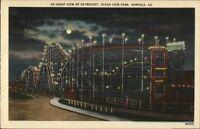 Norfolk VA Ocean View Roller Coaster at Night Linen Postcard