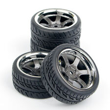 4Pcs On Road Rubber Tires Wheel Rims Set For HPI Racing 1:10 RC Car PP0038/150