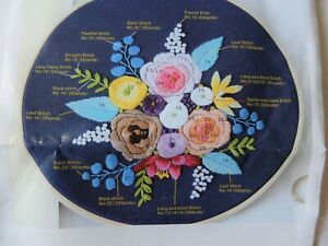 New Embroidery KIT of flowers - with hoop.