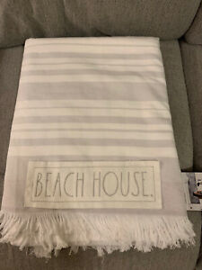 Rae Dunn beach house beach towel Gray And White Striped 36x68 New With Tags