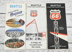 Lot of 3 1960's Seattle Street Maps Phillips 66 Chevron 1966, 1967, 1968