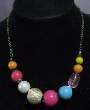 necklace various multi-coloured beads Wonderful bronze tone metal chain
