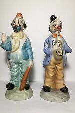 2 Clown Figurine Statue Saxophone Ceramic Hand Painted Collectable Vintage Mime