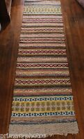MUST SEE Antique Swedish Handmade Rag Rug ( 34 x 120  inches)