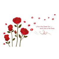 Red Rose Flower Wall Sticker Mural Decal Home Room Art Decor DIY (red) K7J3