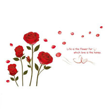 Red Rose Flower Wall Sticker Mural Decal Home Room Art Decor DIY (red) K7J3
