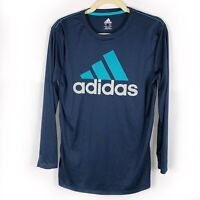 Adidas Men's Climalite Long Sleeve Athletic Shirt Blue Size L Big Logo Graphic