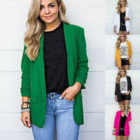 Femme Blazer Couleur Unie Cardigan Office Haut Veste Formelle Costume D'affaires