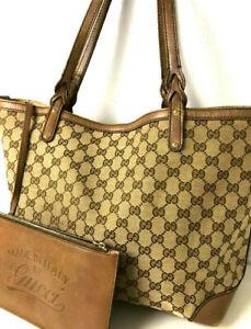 GUCCI Handbag GG Monogram Brown Tote Hand Bag Purse Auth w/Pouch