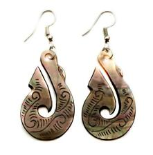Dangle Drop Earrings Women Jewelry Fa021-A Mother of Pearl Shell Maori Fish Hook
