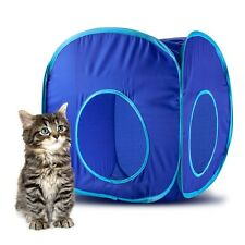 Blue Pop-Up Collapsible Nylon Cat Play Cube w/ Storage Bag & Carrying Case