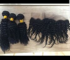 Bundles/4pcs kinky curly brazilian Virgin Hair  14 16 18 and 10 lace frontal