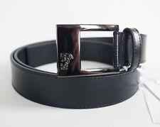 New Authentic VERSACE COLLECTION HALF-MEDUSA Buckle Black Leather Belt 48