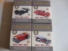 CLOCKWORK WIND UP CAR TOY KIT X4 SET OF CLASSIC CARS CRAFT RETRO FREE UK POST