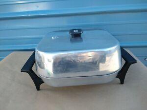SUNBEAM VISTA Vintage Electric Skillet Aluminum Fry Pan w/ spindle feet base MCM