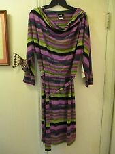 Sharon Young - Cowl Neck Multi-color Stretchy Knit Dress - Size 6 - New w/Tags