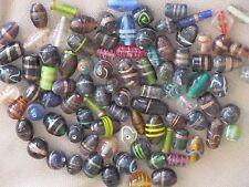 GLASS LAMPWORK BEADS, Bulk Lot, 1 lb. 90 pcs. Mixed Lot Jewelry Crafts Beading