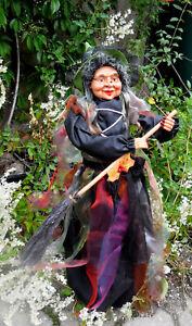 1-59 cm-Hexe,Kräuterhexe-liebes Gesicht mit Brille-Besen-GRÜN-bunt-Halloween