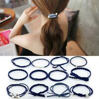 Women Pearl Solid Stretch Hair Ties Hair Bands High Elastic Ponytail Holder Nice