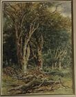 1876 Henry Harris Lines antique signed watercolor Edge Of Forest