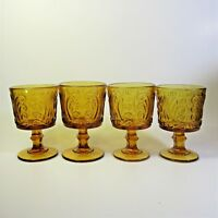 Imperial Glass AMBER SCROLL Wine Glasses Set of 4 Atterbury Scroll Glass