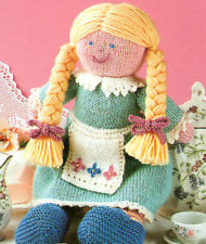 """Toy Knitted Girl Rag Doll with Pretty Clothes 14""""  DK Knitting Pattern"""