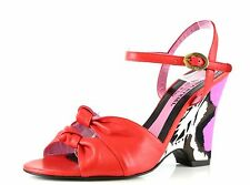 Sonia Rykiel NAPPA Red Leather Ankle Strap Wedge Sandals 8879 Size 37.5 EU NEW
