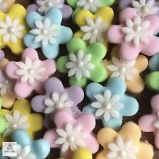 24 Pastel Sugar Edible Flowers Cupcake Toppers Decorations Wedding Baby Shower