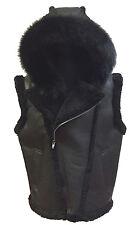 Men's Winter Spring White Red Shearling Sheepskin Vest & Natural Fur Hood, 2XL