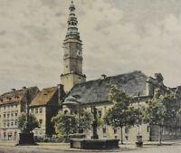 Albrecht Bruck (1874-1964) antik Farb-Radierung: SCHWEIDNITZ - MARKT / Schlesien